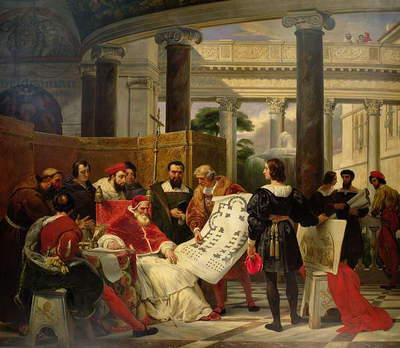 Pope Julius II ordering Bramante, Michelangelo and Raphael to construct the Vatican and St. Peter's, 1827 (oil on canvas) (see also 157492)