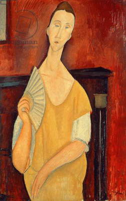 Woman with a Fan (Lunia Czechowska) 1919 (oil on canvas)