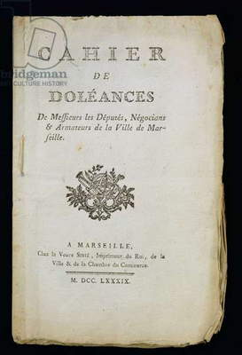 Titlepage of the 'Book of Complaints of the Deputies, Merchants and Shipowners of Marseille', 1789