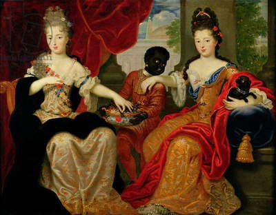 Portrait of Francoise-Marie de Bourbon (1677-1749) and Louise-Francoise de Bourbon (1673-1743) (oil on canvas)
