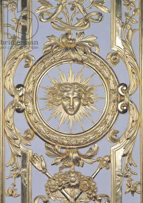 Detail of panelling depicting the emblem of Louis XIV (1638-1715) from the Salon de Venus, 1668 (gilded wood) (see also 192316)