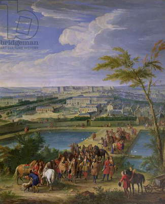 The Town and Chateau of Versailles from the Butte de Montboron, where Louis XIV (1638-1715) with Louvois, Mansart and Le Notre Saw the Water Arrive from the Marly Machine into the Reservoirs, 1688 (oil on canvas)