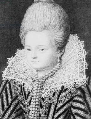 Diane d'Andouins (1554-1620) Countess of Gramont, called 'La Belle Corisande' (engraving) (b/w photo)