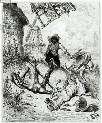 Don Quixote and the Windmills, from 'Don Quixote de la Mancha' by Miguel Cervantes (1547-1616) engraved by Heliodore Joseph Pisan (1822-90) (engraving) (b/w photo)