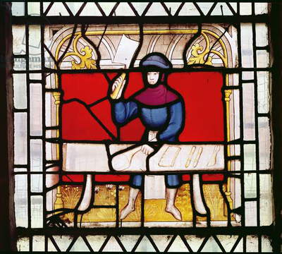 The Butcher's Window (stained glass) (detail)