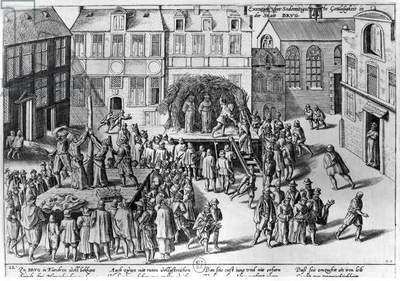 Stake at Bruges during the Government of Fernando Alvarez de Toledo (1508-82) Duke of Alba (engraving) (b/w photo)