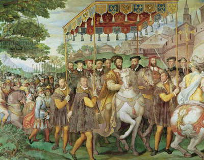 The Solemn Entrance of Emperor Charles V (1500-58), Francis I (1494-1547) and Alessandro Farnese (1546-92) to Paris in 1540, from the 'Sala dei Fasti Farnese', 1557-66 (fresco) (detail of 133347, see also 156714)