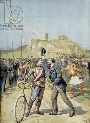 The Olympic Games in Athens, from 'Le Petit Journal', 26th April 1896 (coloured engraving)