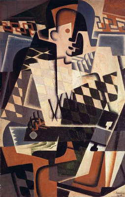 Harlequin with a Guitar, 1917 (oil on canvas)