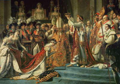 The Consecration of the Emperor Napoleon (1769-1821) and the Coronation of the Empress Josephine (1763-1814) by Pope Pius VII, 2nd December 1804, 1806-07 (oil on canvas) (detail of 18412)