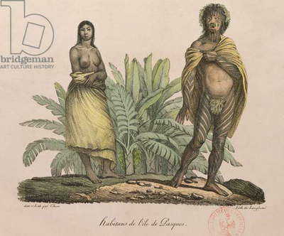 Inhabitants of Easter Island, from 'Voyage Pittoresque Autour du Monde', engraved by G. Langlume, 1822 (coloured engraving)