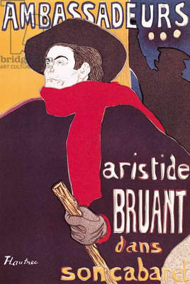 Poster advertising Aristide Bruant (1851-1925) in his cabaret at the Ambassadeurs, 1892 (litho)