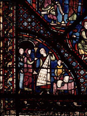 Detail of a window depicting fur traders and drapers, from the north ambulatory (stained glass)