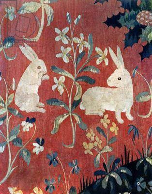 The Lady and the Unicorn: 'Taste', detail of two rabbits (tapestry)