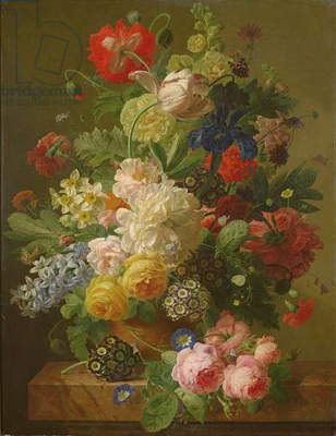 Flowers in a vase on a marble console table, 1816 (oil on canvas)
