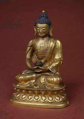 Buddha Amitayus seated in meditation holding the vase of nectar (amrta) in his lap (bronze)
