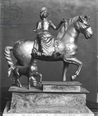 Statuette of Epona, Gaulish Goddess, protector of horses, riders and travellers, from La Sarrazine, Jura, c.50 BC-400 AD (bronze) (b/w photo)