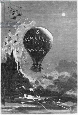 Frontispiece to 'Five Weeks in a Balloon' by Jules Verne (1828-1905) (engraving) (b/w photo)