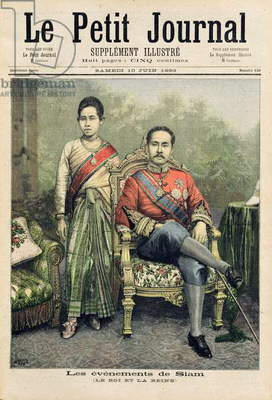 The King and Queen of Siam, illustration from 'Le Petit Journal', 10th June 1893 (coloured engraving)