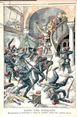 In the Balkans: Macedonians defending themselves with bombs against Turkish Soldiers, illustration from 'Le Petit Journal', 27th September 1903 (colour engraving)