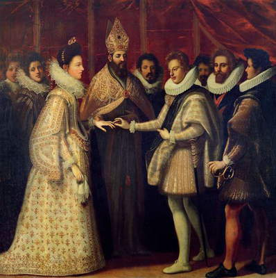 The Marriage of Catherine de Medici (1519-98) and Henri II (1519-59) 1533 (oil on panel)