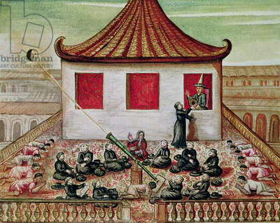 od. 59 fol.7 The Eclipse of the Sun in Siam in 1688, viewed by the Jesuit missionaries, in the presence of the King of Siam at the window of his palace, 1688 (w/c on paper)