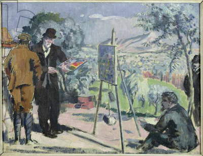 A Visit to the House of Cezanne in Aix, 1906 (oil on canvas)
