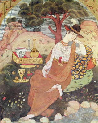 Princess sitting in a garden, Safavid Dynasty (fresco)