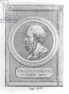 Portrait of Eratosthenes (c.284-192 BC) (engraving) (b/w photo)