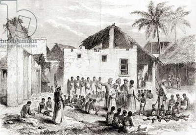 The Slave Market in Zanzibar, from 'Voyage de Livingstone en Afrique', after 1866 (engraving) (b/w photo)