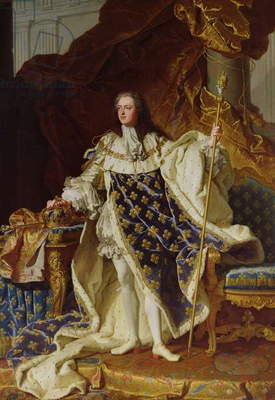 Portrait of Louis XV (1715-74) in his Coronation Robes, 1730 (oil on canvas)
