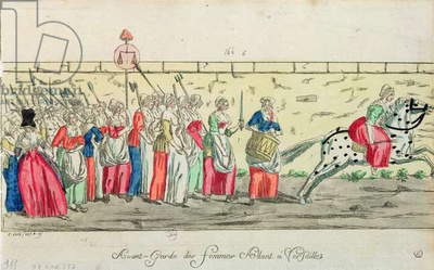 Advanced guard of the women going to Versailles on 5th October 1789 (coloured engraving)