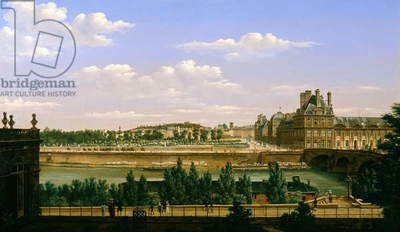View of the Gardens and Palace of the Tuileries from the Quai d'Orsay, 1813 (oil on canvas)