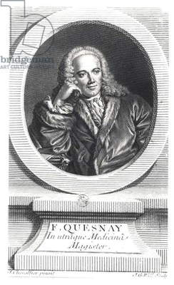 Portrait of Francois Quesnay (1694-1774) engraved by Johan Georg Wille (1715-1808) (engraving) (b/w photo)