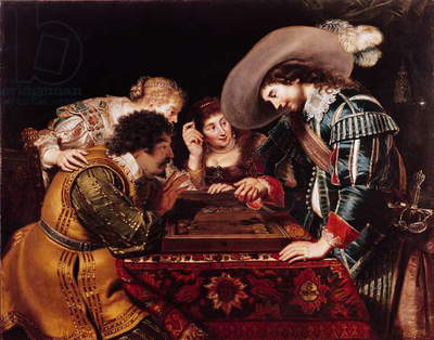 The Game of Backgammon (oil on canvas)