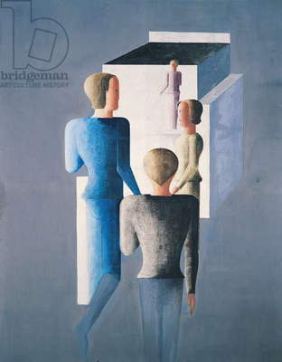 Four Figures and a Cube, 1928 (oil on canvas)
