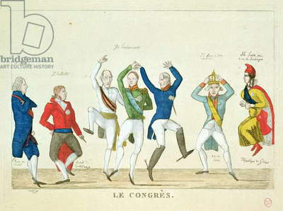 Satirical cartoon depicting the key protagonists in a dance at the Congress of Vienna in 1815 (coloured engraving)