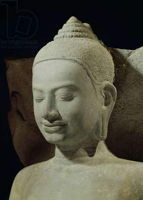Buddha in Meditation on the Naga King, Mucilinda, detail of Buddha's head, from Preah Khan, Bayon style, 12th-13th century (sandstone)