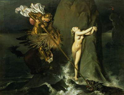 Ruggiero Rescuing Angelica, 1819 (oil on canvas)