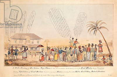 A Public Meeting of West Indian Negro Slaves, 1846 (colour engraving)