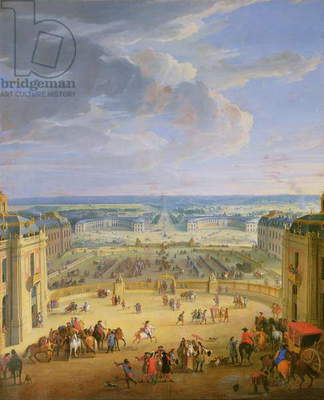 Perspective View from the Chateau of Versailles of the Place d'Armes and the Stables, 1688 (oil on canvas)