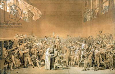 The Tennis Court Oath, 20th June 1789, 1791 (pen washed with bistre with highlights of white on paper) (see also 14667)
