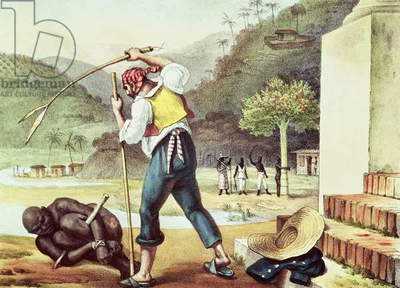 Punishment of Negroes, illustration from 'Voyage Pittoresque et Historique au Bresil', 1835 (colour litho)