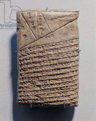 Tablet with fourteen lines of a mathematical text in cuneiform script and a geometric design (stone)