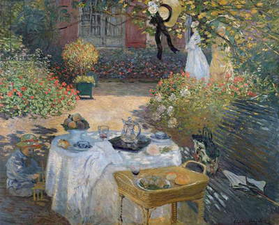 The Luncheon: Monet's garden at Argenteuil, c.1873 (oil on canvas)