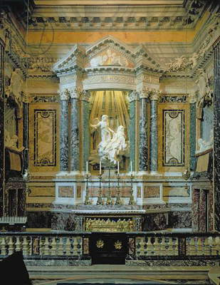 View of the altar with the Ecstasy of St. Teresa by Giovanni Bernini, Santa Maria della Vittoria, Rome, Italy (photo)
