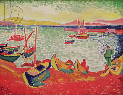 Boats in the Harbour at Collioure, 1905 (oil on canvas)