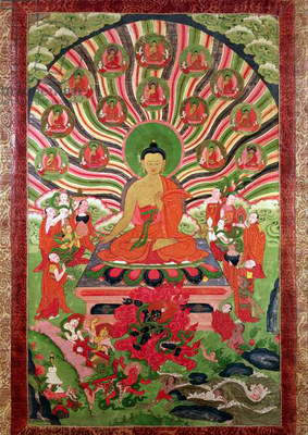 Scenes from the life of Buddha (painted textile)