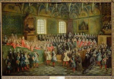 Bed of Justice Held in the Parliament at the Majority of Louis XV (1710-74), 22nd February 1723 (oil on canvas)