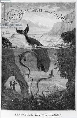 Cover Illustration from '20,000 Leagues Under the Sea' by Jules Verne (1828-1905) engraved by Henri Theophile Hildibrand (1824-97) (engraving) (b/w photo)